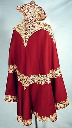 c. 1898-1900 Cranberry/Burgundy Wool Soutache Winter Cape with High Collar