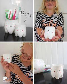 Aufbewahrung für´s Zahnputzzeug aus Plastikflaschenböden in Form von Zähnen