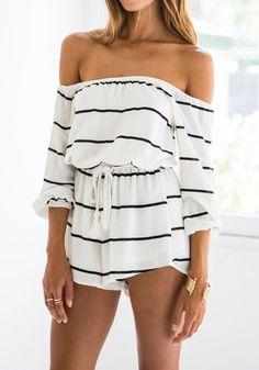 White Striped Print Elastic Waist High Waisted Short Jumpsuit