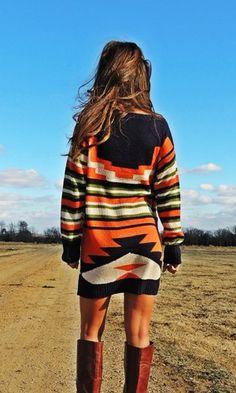 Navy Aztec Sweater Dress for desert hikes.