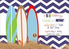 surfs up birthday boy invite, surfer party invitation, surf birthday party invitations from party box design
