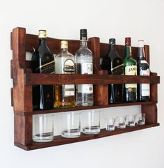 If you are a whiskey lover this wine rack wall mounted made from reclaimed wood is the perfect match for you! It can be a great option as a a housewarming gift, gift for men, gift for groom, wedding gift, gift for boyfriend. This rack would look amazing in a cigar bar or next to your