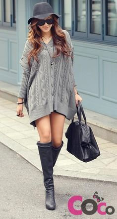 Grey Long Line Varied Knit Bat Sleeves Asymmetric Korean Fashion Sweater