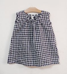 Sleeveless Dress Alice - Navy Checks