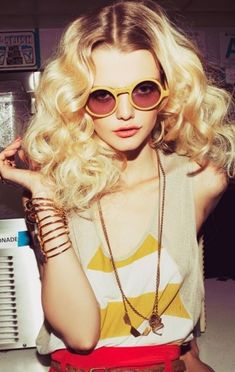 Big hair | Round Sunglasses. via Thread Science