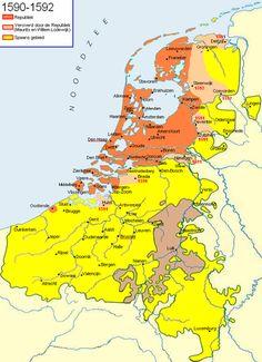Mapa 1590 tras Alejandro Farnesio, la de los territorios rebeldes en rojo (la República), y sus conquistas en marrón, en amarillo los territorios españoles y en gris el obispado de Lieja aliado de los españoles.