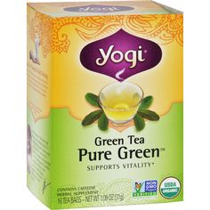 Yogi Organic Pure Green Herbal Tea - 16 Tea Bags - Case of 6 - Yogi Organic Pure Green Herbal Tea Description:    Supports Vitality  Contains Caffeine Green Tea with its simply delicious flavor has enjoyed a long and noble history. In Asia generations have held in high esteem the enchanting essence and intoxicating aroma of this special brew. Over 4500 years ago Chinese physicians prescribed green tea as an effective health aid and natural path to vitality and longevity touting its…