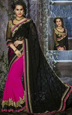 Picture of Blasting Black and Fuchsia Pink Color Saree