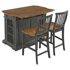 """Kitchens are the meeting place in the home today, and there is no more comfortable place to be than at the Americana Kitchen Island. Crafted of hardwood solids and veneers, with engineered woods, and finished in a deep grey painted finish. Physically distressed oak finished top, which features worm holes, fly specking, and small indentations. Other features include shaped top, with beveled edges, and a drop leaf that when it is extended increases the work surface to 36"""". Two open ..."""