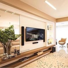 Chic and Modern TV wall mount ideas. - Since many people including your family enjoy watching TV, you need to consider the best place to install it. Here are 15 best TV wall mount ideas for any place including your living room. Cool Rooms, Great Rooms, Tv Wall Design, House Design, Tv Wanddekor, Tv Wall Decor, Wall Tv, Modern Tv Wall, Living Room Tv