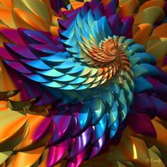 """""""spiral - """"Dragon Skin"""", fractal"""" by Edward KinnallyGilbert, AZ // Imagekind.com – Buy stunning, museum-quality fine art prints, framed prints, and canvas prints directly from independent working artists and photographers."""