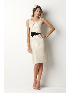 Dupioni Tucked Neckline Knee-Length Bridesmaid Dress
