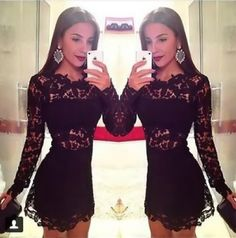 Black Lace 2015 Cocktail Dresses Sheath Short Prom Dresses Crew Neck Long Sleeves Mini 2014 Homecoming Dresses Under 100 Cheap In Stock from Kissbridal001,$52.24 | DHgate.com