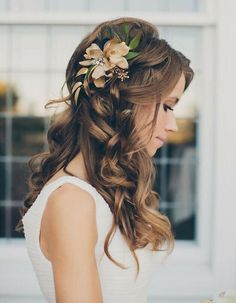 Coiffure de mariage / wedding hair Hair Styles for Girls Wedding Hair Down, Wedding Hairstyles For Long Hair, Wedding Hair And Makeup, Wedding Beauty, Down Hairstyles, Pretty Hairstyles, Hair Makeup, Hairstyle Wedding, Romantic Hairstyles