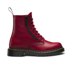 Dr Martens website. Zip Pascal Aunt Sally boot. Classic 8 eye Pascal boot reinvented in a monochromatic way. Love the red. Love the zipper. Don't have to mess with laces. Just zip up and go.