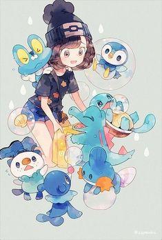 Selene and water starters Pokemon Mew, Pokemon Fan Art, Cute Pokemon, Pokemon Store, Pokemon Images, Pokemon Pictures, Pokemon Original, Lagann Gurren, Water Type Pokemon
