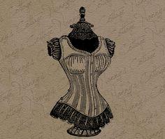 Antique Ladies Corset Clip Art Illustration by nannyscottage, $1.00
