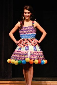 Dress made from upcycled game pieces (high school designer)