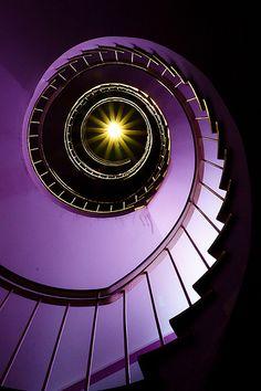 Purple Staircase by liquidkingdom Grand Staircase, Staircase Design, Beautiful Architecture, Architecture Details, Interior Architecture, Winding Stair, Stair Well, Beautiful Stairs, Stair Steps