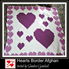 This Heart Afghan is bordered with hearts! Looks beautiful in shades of purple – other color combinations available as wellWhat you need Heart Border Afghan in Purple: Crochet Heart Blanket, Crochet Blanket Patterns, Crochet Blankets, Crochet Quilt, Afghan Patterns, Crochet Afghans, Filet Crochet, Baby Blankets, Knit Patterns