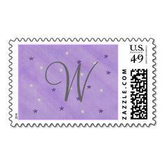 Purple Silver Stars Monogram Template Stamps