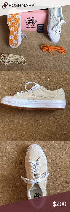 Golf le fleur converse- brand new never worn Cream/white with three pairs of laces with a flower designed bottom comes with original box  Size 8 Mens Size 10 women's Converse Shoes Sneakers