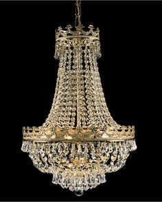 Alma Gold Plated 8 Light Empire Style Crystal Chandelier