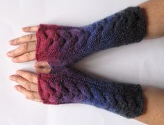 Fingerless Gloves Red Beet Purple Dark Blue wrist by Initasworks