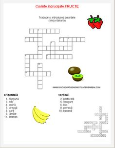 Cuvinte incrucisate fructe Printed Pages, Worksheets For Kids, Kids Education, Word Search, Puzzle, Math, School, Gaming, Childhood Education