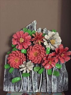 Wall plaque made with PINECONE FLOWERS