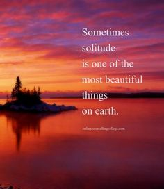 """Sometimes solitude is one of the most beautiful things on earth."" Created and posted by onlinecounsellingcollege.com"