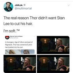 The heartbreaking reason Thor was so upset about his hair being cut in ragnarok? Because he had some of Loki's hair braided into his own Stan Lee, Marvel Dc Comics, Marvel Avengers, Asgard, Loki Thor, Loki Sad, Loki Laufeyson, Dc Memes, Fandoms