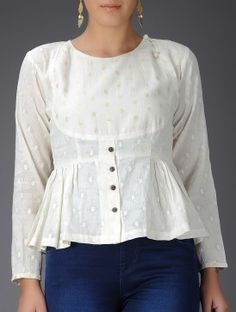 Ivory Cotton Kedia Top with Gathers