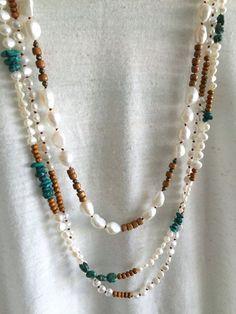 Mucho agua dulce perla turquesa madera collar por GirlwiththePearl1