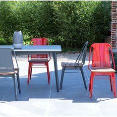 Chaise de jardin en métal et bois de teck anthracite Toscane TIKAMOON