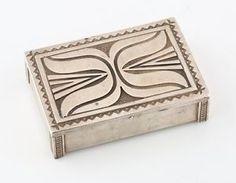 Kenneth-Begay-Signed-Navajo-Sterling-Silver-Cigarette-Box-White-Hogan-Vintage