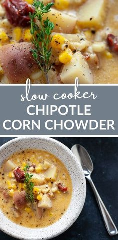 Slow Cooker Chipotle Corn Chowder takes less than 15 minutes to prepare and packs in a bit of heat for a whole lot of flavor. #easy #vegetarian #healthy #soup #dinner #recipe
