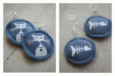 Handprinted white on blue cat earrings on 100% cotton fabric - Whiskers by Doeksisters