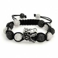 Fathers Day Gifts Chinese Swarovski Crystal Dragon Shamballa Inspired Bracelet