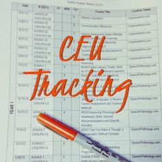 Millions of Fingerprints: Today In Speech Therapy: CEU Tracking Organization