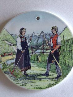 Scandinavian Stavangerflint Ceramic Wall Folk Art /Norwegian Farming Couple from Hallingdal  Norway Tend their Alpine Garden in Folk Costume...