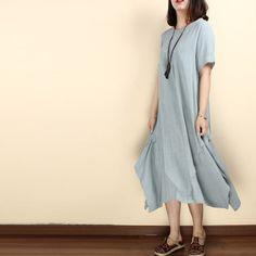 Women summer cotton linen short sleeve irregular gown