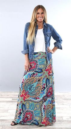 Shop a great selection of Yinggeli Women's Bohemian Print Long Maxi Skirt. Find new offer and Similar products for Yinggeli Women's Bohemian Print Long Maxi Skirt. Maxi Skirt Outfits, Long Maxi Skirts, Boho Outfits, Printed Maxi Skirts, Midi Skirts, Modest Outfits, Denim Shirt Dress Outfit, Dress Long, Lularoe Maxi Skirt