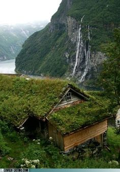 Farmhouse high over Geiranger fjord, Norway -- photo by Raphael Bick via flickr http://www.flickr.com/photos/picturejourneys/1247964156/in/photostream/ [I'm thinking sod on the roof?]