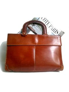 LEATHER HANDBAG tan leather / briefcase/ laptop recycled/ satchel/ great patina