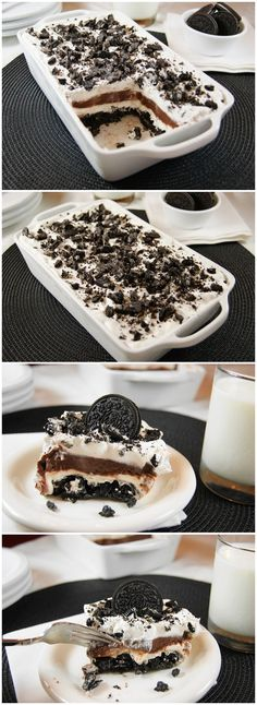 No Bake Oreo Layer Dessert is part of Oreo dessert Recipes - An easy no bake dessert with layers of Oreo crust, cream cheese, chocolate pudding, Cool Whip and more crushed Oreos Yummy Treats, Sweet Treats, Yummy Food, Think Food, Love Food, Oreo Layer Dessert, Oreo Dirt Cake, No Bake Oreo Dessert, Icebox Desserts