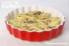 Muszle, conchiglioni, conchiglie. Makaron muszle z pieczarkami czyli makaron duże muszle z nadzieniem pieczarkowym - przepis na conchiglie z pieczarkami.