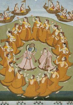 krishna and radha dancing the rasalila