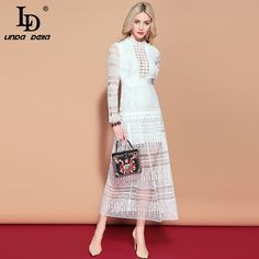 Maxi Long Dress Womens Long Sleeve Lace Hollow out Embroidery Dress Solid White Elegant Formal Party Dresses Trendy Fashion, Work Fashion, Fashion Details, Fashion Ideas, Fashion Trends, Maternity Fashion, Pregnancy Fashion, Pretty Outfits, Pretty Clothes