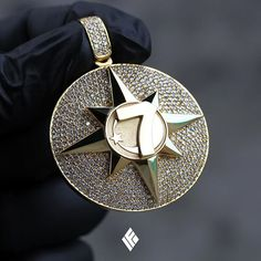 Black Diamond Shark Eye 24K Gold plated Jewelry pendant charm 3D New Solid